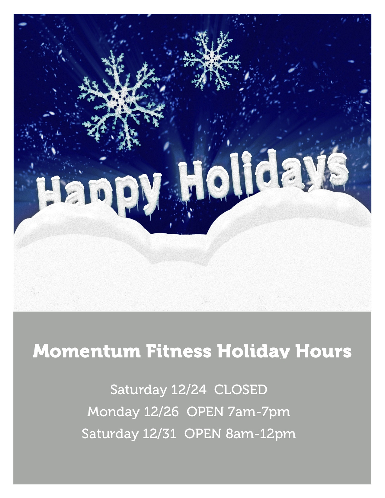Holiday Business Hours Momentum Fitness Providence Personal