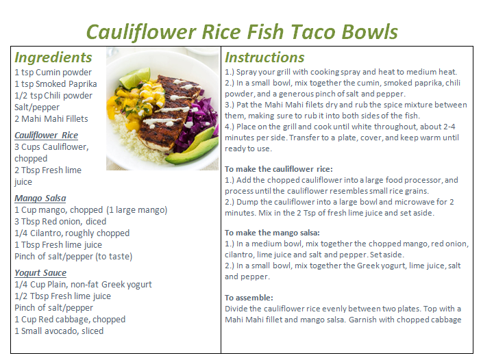 Cauliflower Rice Fish Taco Bowls