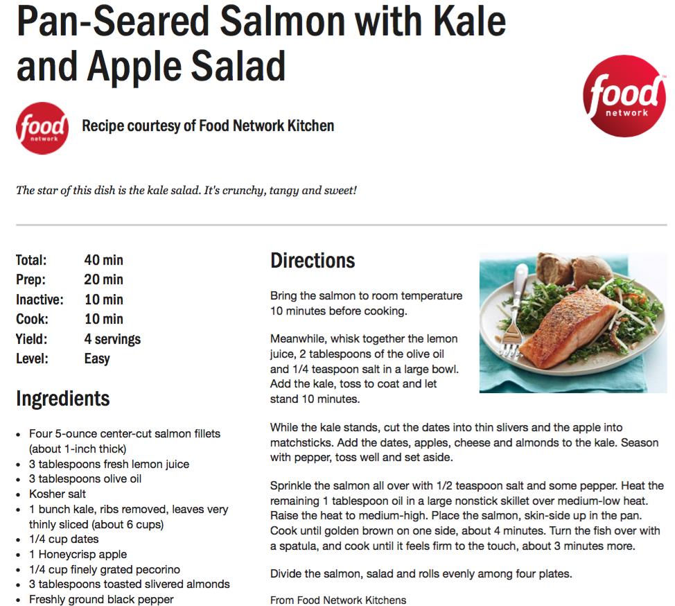 Recipe of the week pan seared salmon with kale momentum fitness leave a comment forumfinder Images
